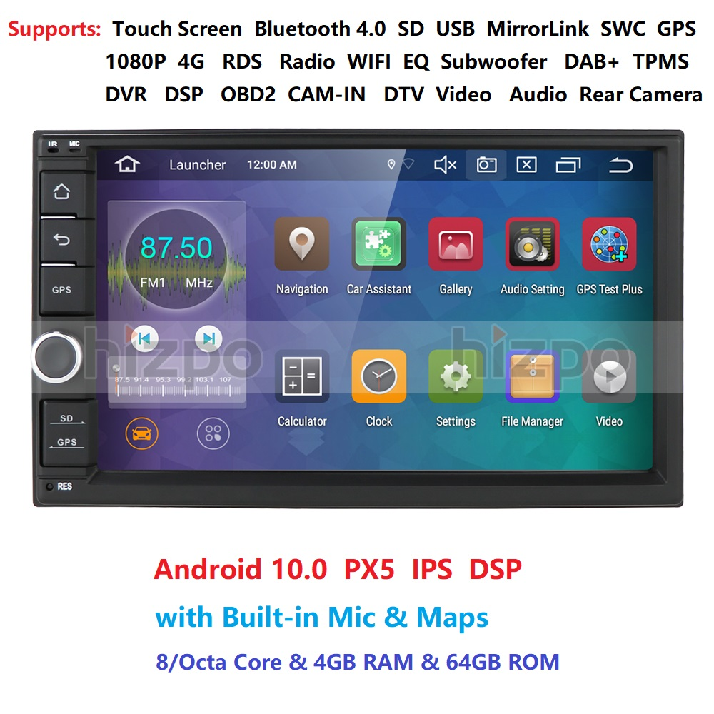 Ips octa núcleo android 10.0 duplo 2 din 4g ram 64g rom carro multimídia não dvd player com bluetooth wifi obd dvr dab +