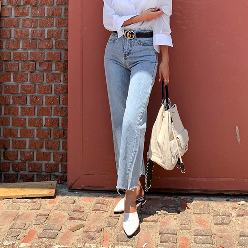 Women Denim Jeans Fashion Streetwear Blue Button Fly Loose Wide Leg Denim Jeans Vintage High Waist Tassel Long Jeans Pants 2020
