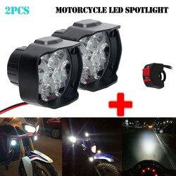 New 2pcs 9 LED Motorcycle Headlights Spotlights Fog Spotlight Driving Light 2000LM LED Headlights 15W With Switch #PY10