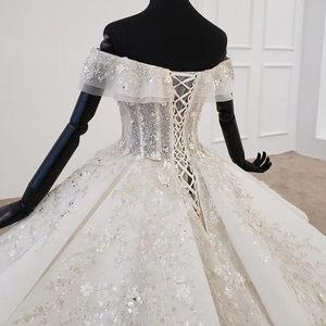 Image 5 - HTL1271 2020 vestido de novia bohemio sin hombros manga corta aplique de lentejuelas Mujer Flor vestido de boda vestido de novia