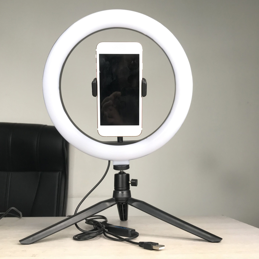 Video Light Dimmable LED Selfie Ring Light USB Ring Lamp Photography Light With Phone Holder Tripod Stand Makeup Youtube With RC