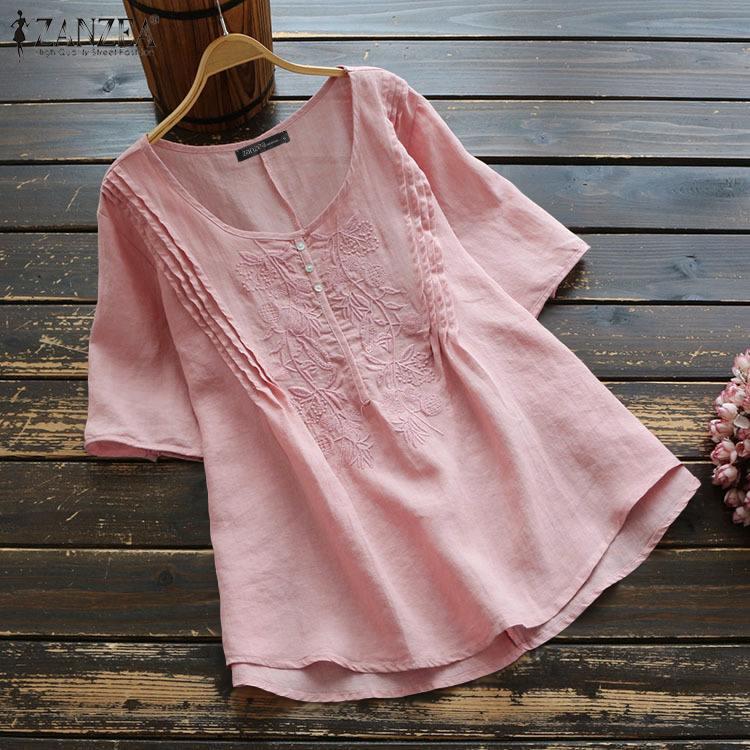 Verão vintage bordado blusa zanzea feminino manga