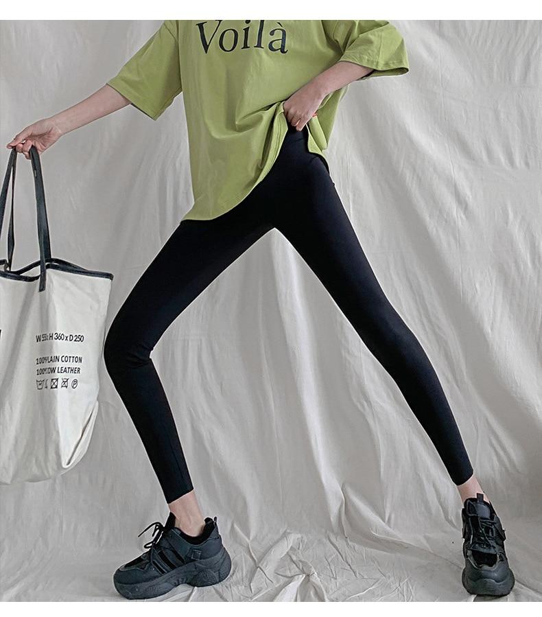 H664e4cc954334f2b88ddb621d0c4ab43F BIVIGAOS New 3-Color Sharkskin Leggings Women Spring Summer Thin Skinny Legs Fitness Leggings Pressure Elastic Sport Leggings
