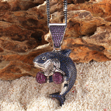 Colored Boxing Shark Women Men Pendant Necklace Bling Iced Out Purple Blue Cubic AAA Zirconia Hip Hop Jewelry