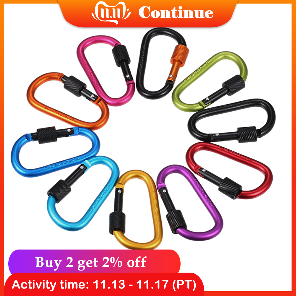 Ultra Strength Metal Locking Carabiners Clip Outdoor Backpack Hanging D Shape Buckle Keychain Rings Gear For Hiking Camping