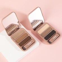 Трехмерные трехцветные брови, натуральная Водонепроницаемая фотопалитра с мягкой кистью и зеркалом для макияжа глаз TSLM1
