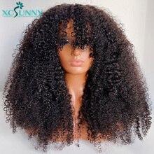 Afro perwersyjne kręcone ludzkie włosy peruki z grzywką 200 gęstości 22 cal pełna maszyna wykonane ludzkie włosy peruka włosy brazylijskie Remy Xcsunny