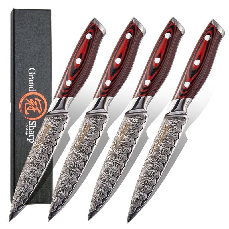 Набор ножей для стейка из дамасской стали, 67 слоев, vg10, 4 шт.