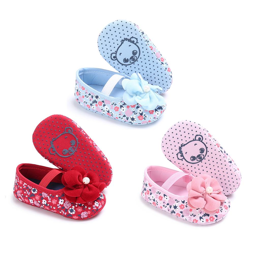 Baby Flower Toddler Shoes Soft Insoles Anti-Slip Shoes Infant Newborn Girls Princess Shoes First Walkers Crib Floral Soft Soled