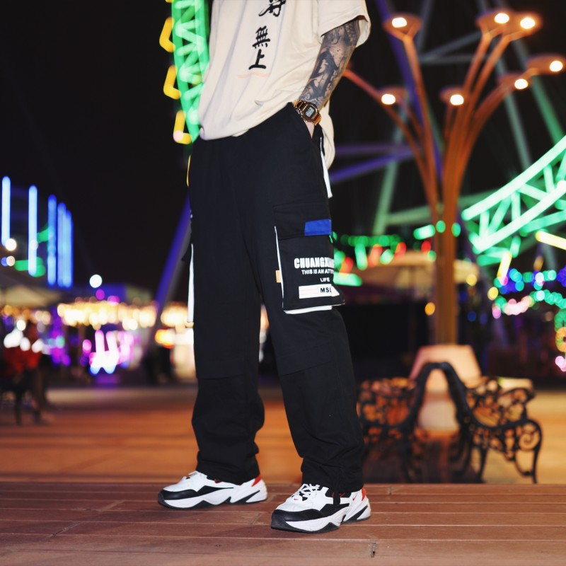 RLJT.JIN 2019 New Jogger Hombre Pantaloni Uomo HipHop Cargo Pants Men Streetwear Pantalones Hombre Overalls Pockets Fashion Mens