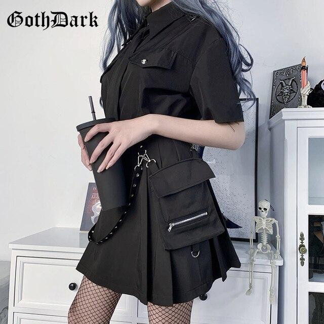 Goth ciemny Streetwear plisowana spódnica lato moda Punk Grunge klamra patchworkowy zamek błyskawiczny spódnice trapezowe kobiety klub 2020 Gothic