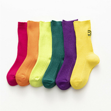 Children Soft Cotton Girls Boys Sock Candy color Smiling face Pattern Kids