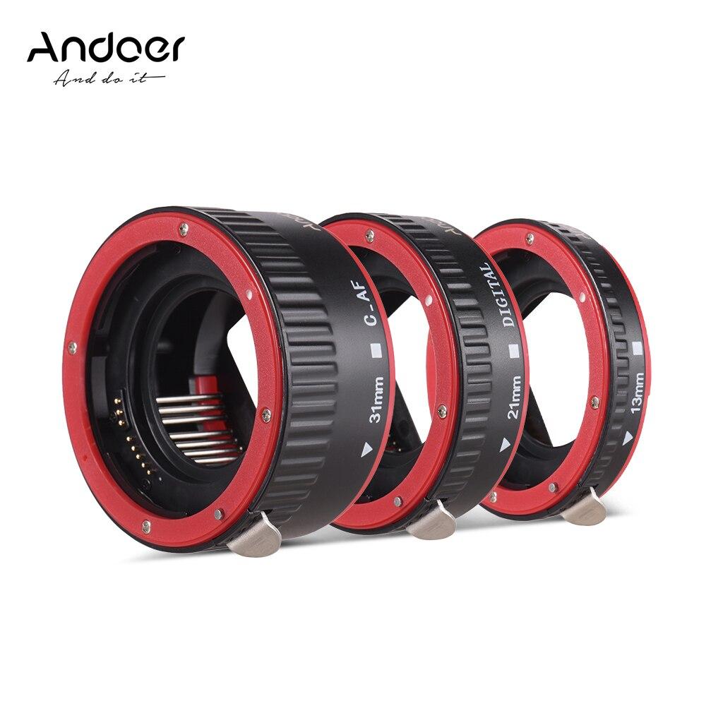 Bague d'adaptateur de Tube d'extension AF Portable à mise au point automatique Andoer (13mm + 21mm + 31mm) pour Canon EOS EF EF-S objectif de montage pour Canon