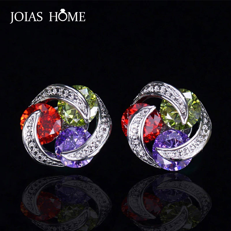 JoiasHome 925 Sterling Silver Earrings Korean Version Mix And Match Colorful Zircon Flower Shape Earrings Exquisite Wedding Gift