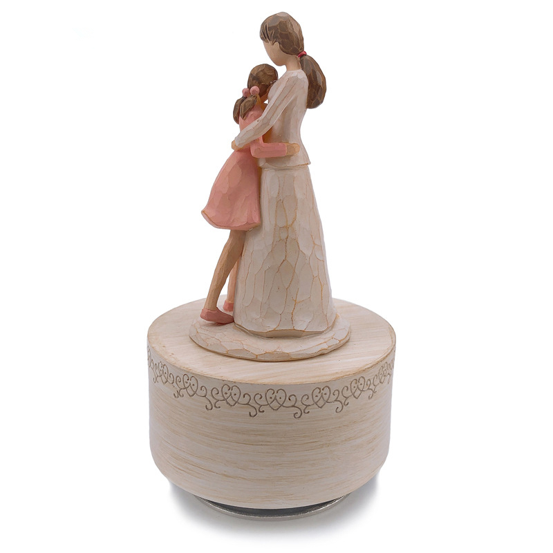 New Wooden Rotating Music Box Kids Toys Mother And Kids Resin Crafts Mother's Love Birthday Present Mother's Day Gift
