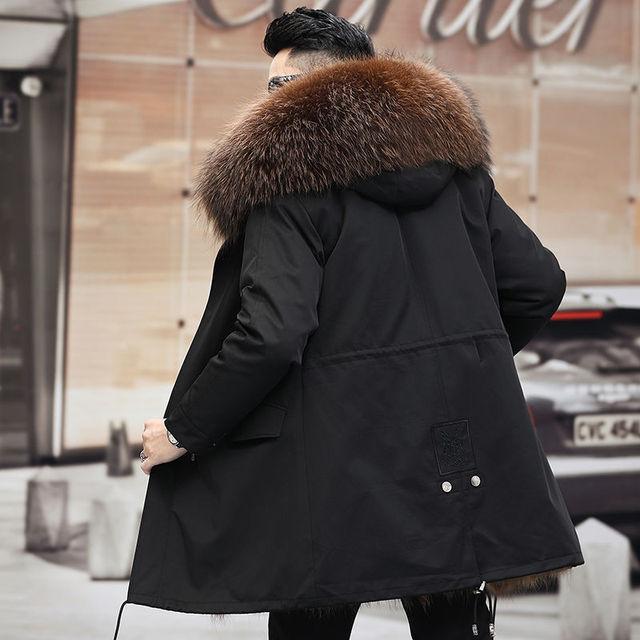 Windbreaker 2021 New Winter Real Fox Fur Coat Long Parka Men Real Rabbit Fur Liner Natural Fur Hooded Thick Warm Male Jacket 2