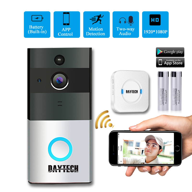 DAYTECH Wireless WiFi Video Doorbell Camera IP Ring Door bell Two Way Audio APP Control iOS Android Battery Powered Card Option