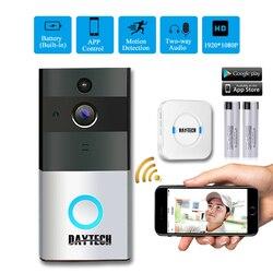 DAYTECH sans fil WiFi vidéo sonnette caméra IP anneau porte cloche deux voies Audio APP contrôle iOS Android batterie alimenté carte Option