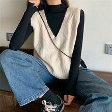 #40 clásico sin mangas suéteres mujeres Chaleco de suéter de punto V-Cuello Tops de punto Color sólido chaleco Свитера Женские 2021