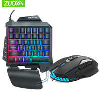 ZUOYA 35 keys Backlight One-Handed Game Keyboard Mouse Set wired Gamer Gaming Mouse and Keyboard Kit For pro gamer
