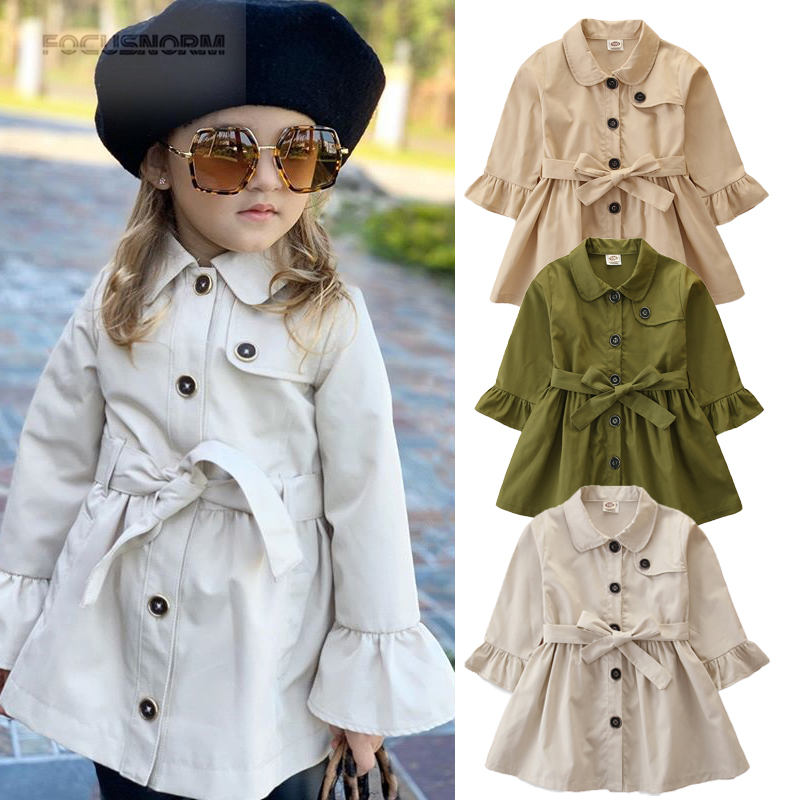 Toddler Baby Girl Wool Coat Long Sleeve Double Button Turn-Down Collar Trench Coat Jacket Fall Winter Overcoat Outwear
