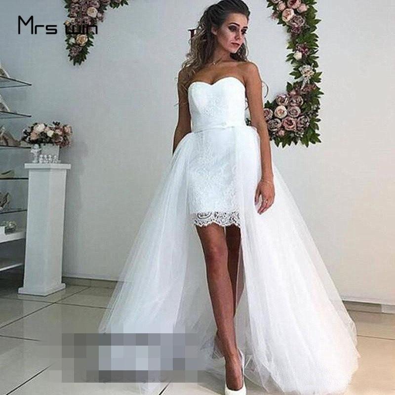 Mrs Win Wedding Dress Strapless Mesh Wedding Dresses High Low Length Vestido De Noiva Plus Size White Bridal Ball Gowns HR022