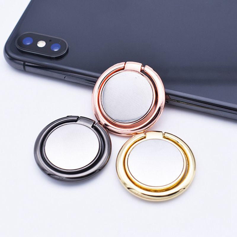Metal Phone Ring Bracket Holder 360 Degree Rotating Mobile Phone Stand Ring Buckle Round Mirrow Stickers Portable Phone Ring