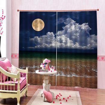 Luxury Blackout 3D Window Curtain For Living Room blue curtains sky moon beach curtains