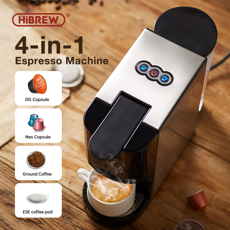 HiBREW Coffee Machine 4in1 Multiple Capsule Espresso  Dolce Milk&Nespresso&ESE Pod&Powder Coffee Maker Stainless Metal Outook H3
