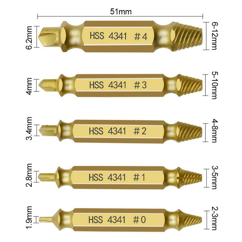 HSS 4341 with Titanium Coated Broken Screw Extractor Set Screw Remover Stripped Screw Extractor Bolt Remover Tools Xinzistar 5 Pcs Damaged Screw Extractor Kit
