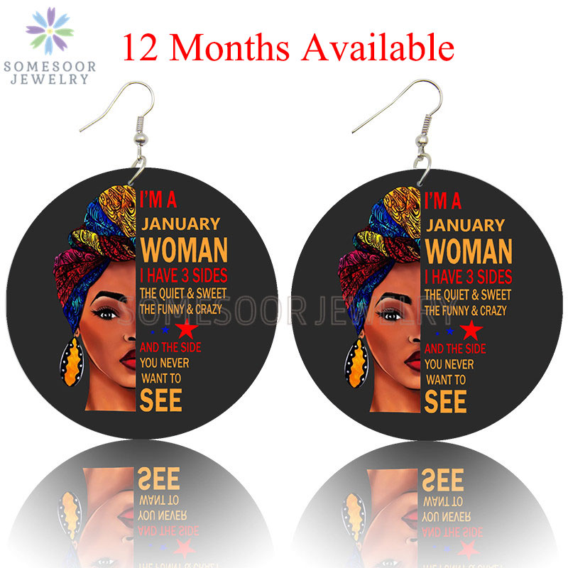 SOMESOOR Both Sides Print 12 Months Afro Headwrap Woman Hoops Black Artistic Wooden Drop Earrings Pendant Dangle For Women Gifts
