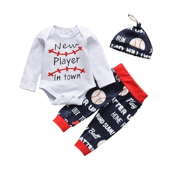 Newborn Baby Boy Clothes Baby Cartoon Letter Print Long Sleeve Romper+Pants+Hat Infant Clothing 3Pcs Toddler Outfits Set newborn baby boys girls romper cartoon print cotton long sleeve jumpsuit infant clothing pajamas toddler baby clothes outfits