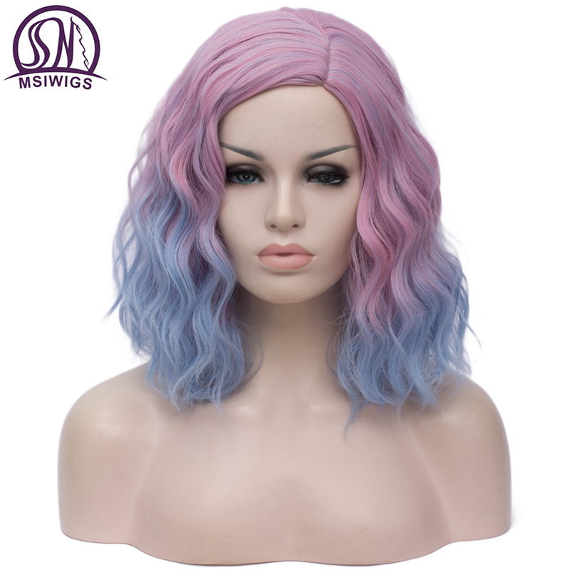 MSIWIGS Woman Two Tone Short Pink Blue Wigs Short Curly 14 Inch Synthetic Hair Wig For Black White Women Cosplay Bob Wigs