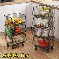 Kitchen Metal Dish Racks Holders Vegetable Fruit Storage Basket With Wheels Home Floor Multi layer Kitchen Storage Organization