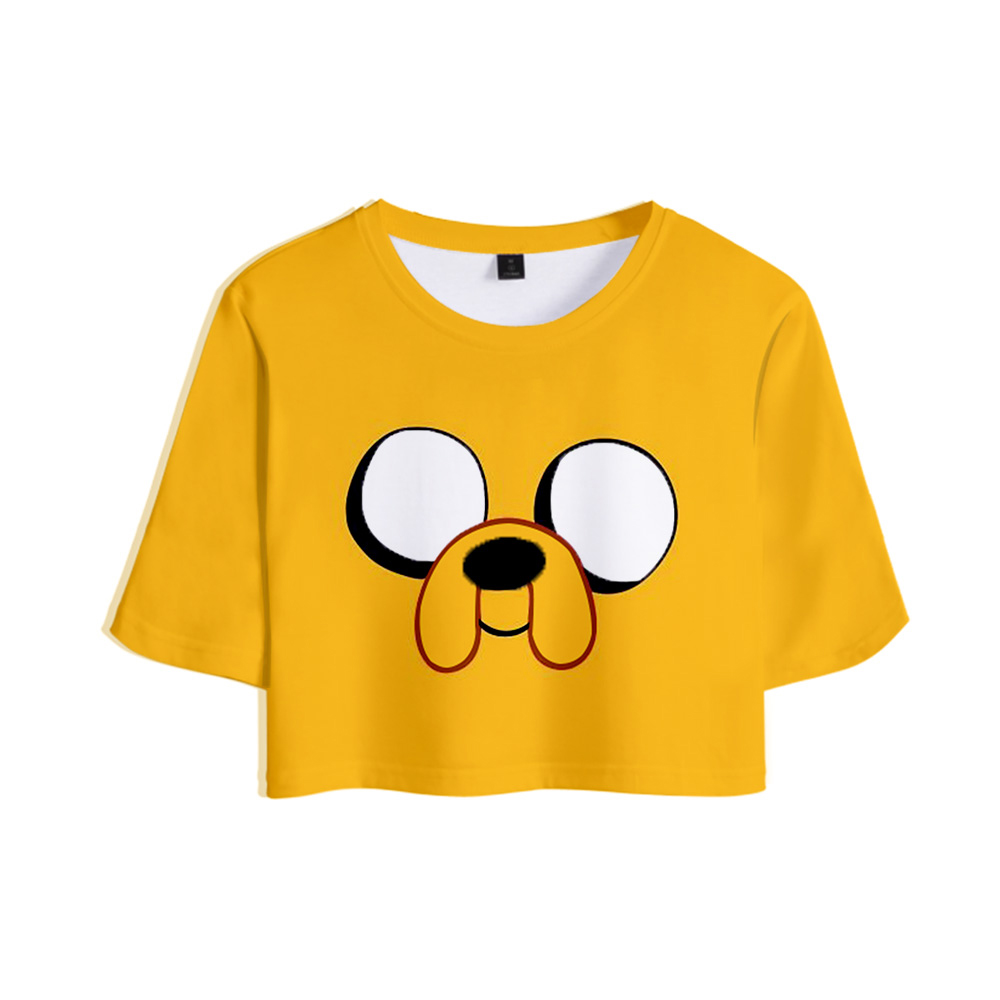 Adventure Time Finn And Jake The Dog Face Sexy Crop Top Women Fashion T-shirt Harajuku Short Sleeve T Shirt Tee Brand Clothes