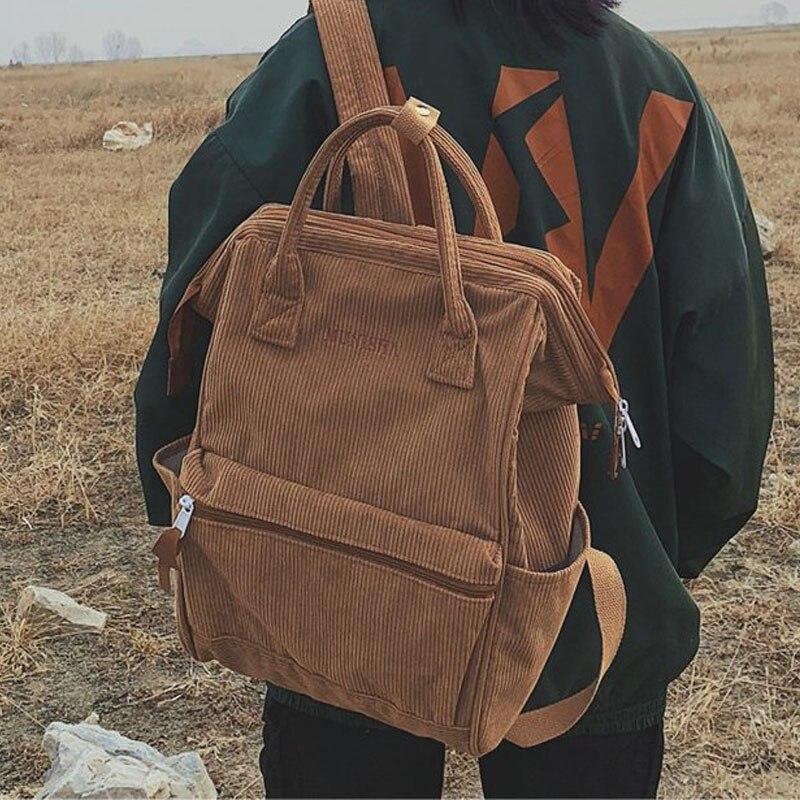 Backpacks Women School-Bags Female Rucksack Teenager Corduroy Mochila Larger-Capacity