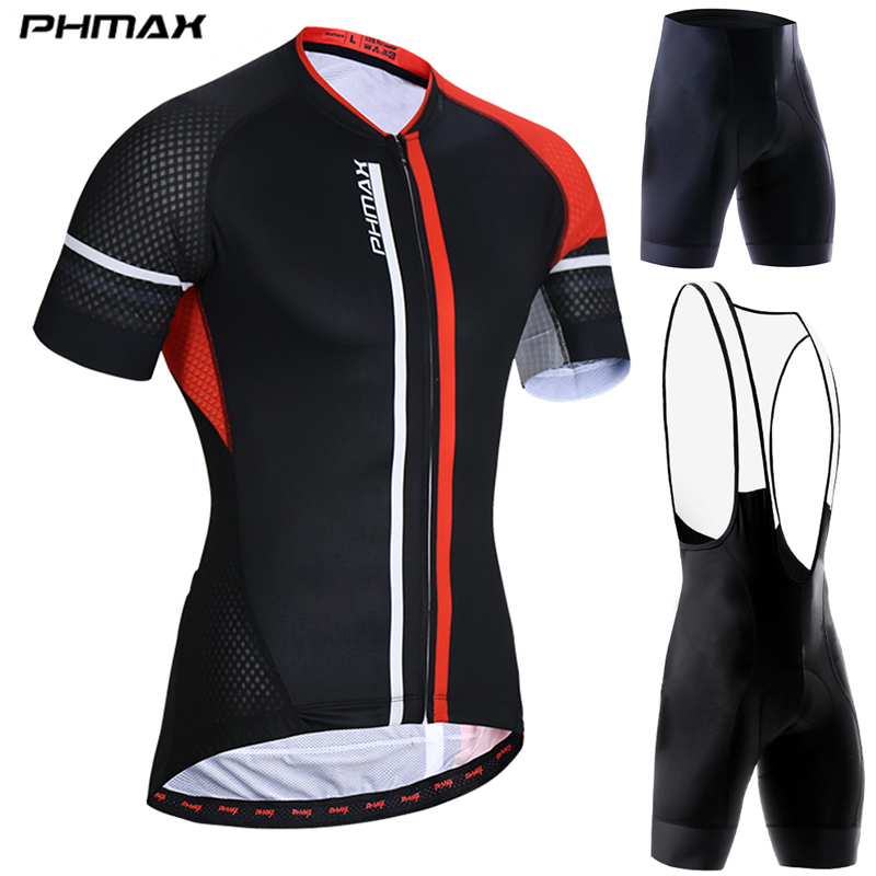 PHMAX Anti UV Pro Summer Cycling Jersey Set Men MTB Bicycle Cycling Clothing Suit Breathable Racing Bike Bib Clothes Suit|Cycling Sets| |  - title=