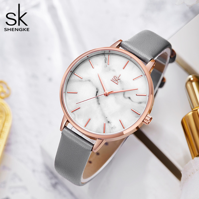 Shengke Emerald Dial Women Watch Rosegold Stainless Steel Band Watch Marble Surface Reloj Mujer New Original Brand Watch forGirl