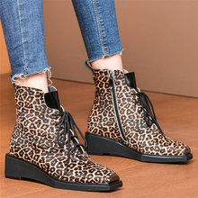 purple hairy lace up square toe women ankle high boots leopard print platform stivali femminili star casual wedges boots femmes Punk Goth Booties Women Cow Leather Wedges Military Ankle Boots Lace Up Horsehair Platform Pumps Shoes Square Toe Oxfords Shoes