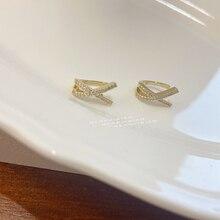Cross-Clip-Earrings No-Piercing Cartilage Zircon Ear-Jewelry Metal Girls Fashion Women