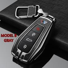 Metall + Silikon Auto Fernbedienung Schlüssel Abdeckung Fall Schlüssel Shell Für Geely EC7 RV EX7 GT GC9 X7 SUV Atlas NL3 SC6 GE EC718 EC715 Auto styling
