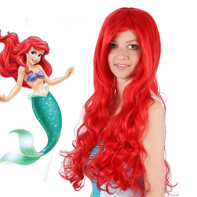 Anime Mermaid Princess Cosplay Costume Skirt Wig Halloween Wig Party Wig Stage Christmas Jewelry Synthesis Girl Red Curly