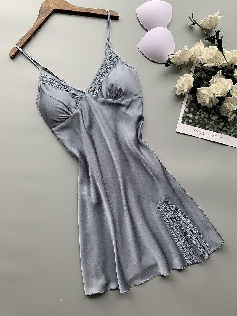 2019 New Stain Women Nightdress V Lead Sexy Lace Nightwear Spaghetti Strap Nightgown 6