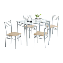 110 x 70 x 76cm Iron Glass Dining Table and Chairs Silver One Table and Four Chairs MDF Cushion