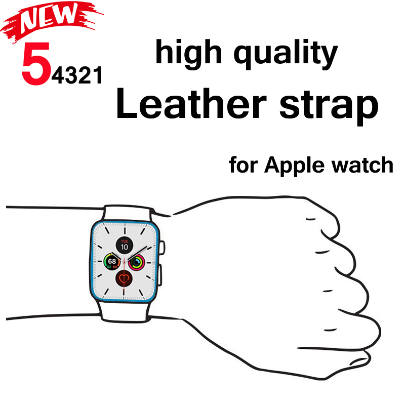 Strap for Apple watch band 5 4 44mm 40mm High quality leather correa iwatch 4 3 2 42mm 38mm Bracelet for Apple watch accessories