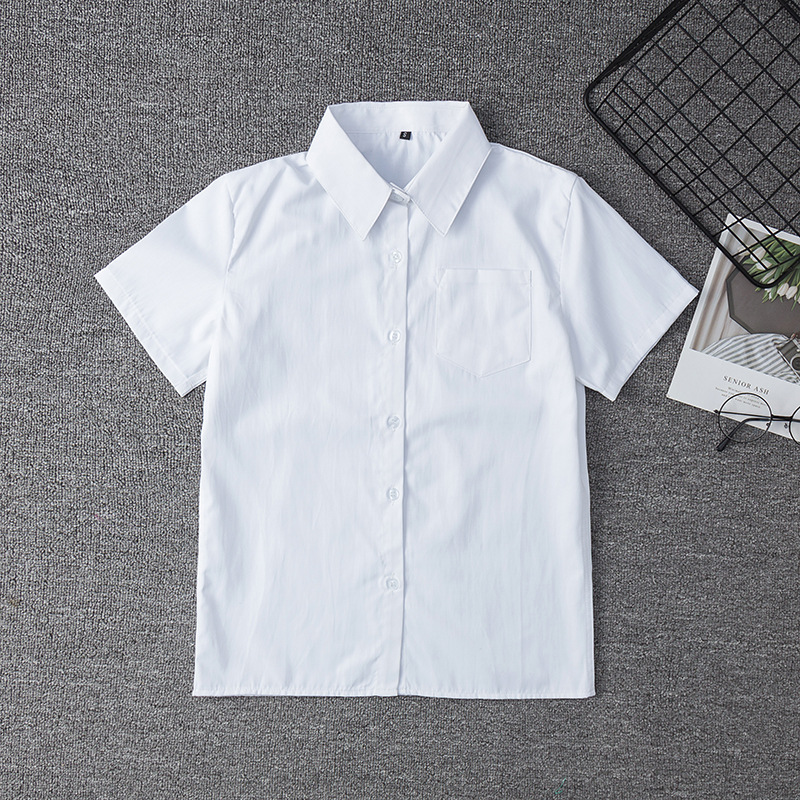 Japanese Student Short Sleeve White Shirt For Girls Middle High School Uniforms School Dress Jk Uniform Top Large-Size XS-5XL