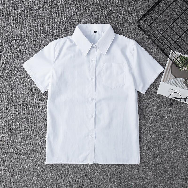 Japanese Student Short Sleeve White Shirt For Girls Middle High School Uniforms School Dress Jk Uniform Top Large-Size XS-5XL