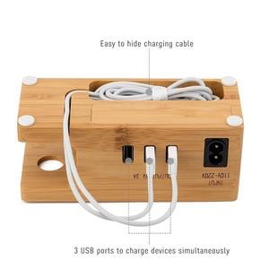 Image 4 - Multi Estación de carga USB con acoplamiento de madera de bambú, 3 puertos, soporte de montaje de cargador de teléfono móvil para Apple Watch iPhone X/8/8Plus/7Plus