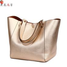 Leather Handbags Big Women Bag 2PCS/Set High Quality Casual Female Bags Trunk Tote Shoulder Ladies Large Bolsos 2019 NEW  M