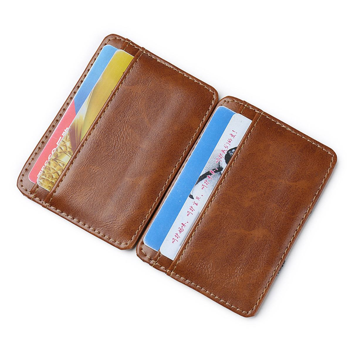 Men Small Mini PU Leather Credit ID Business Card Holder Pocket Case Wallet APE